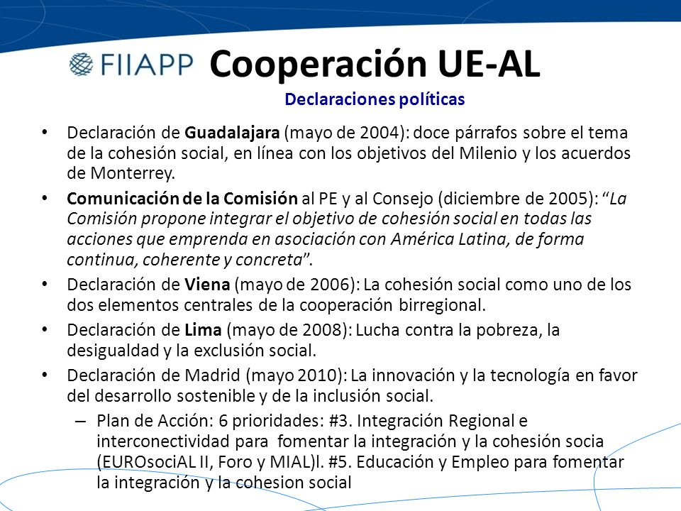 Cooperación UE-AL Declaraciones políticas