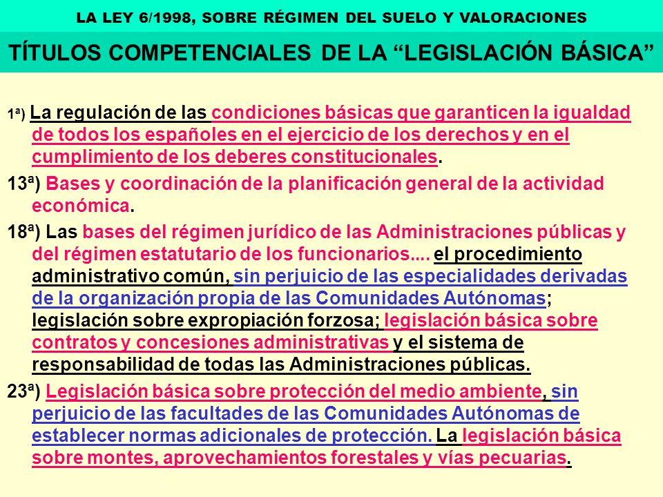 TÍTULOS COMPETENCIALES DE LA LEGISLACIÓN BÁSICA