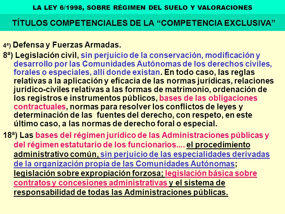 TÍTULOS COMPETENCIALES DE LA COMPETENCIA EXCLUSIVA