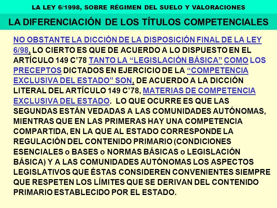 LA DIFERENCIACIÓN DE LOS TÍTULOS COMPETENCIALES