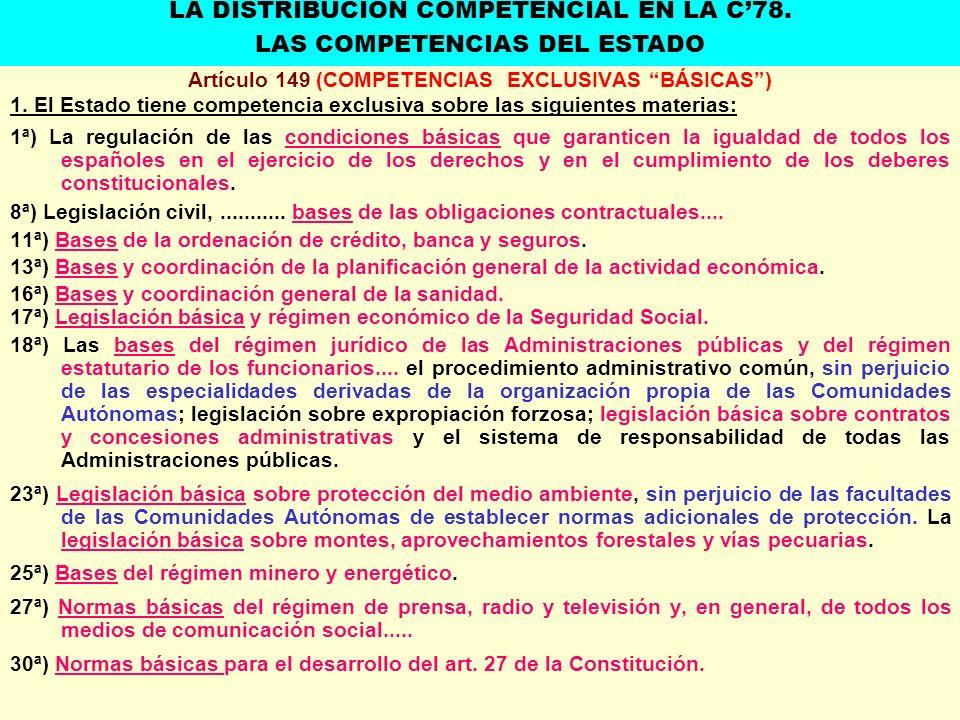 Artículo 149 (COMPETENCIAS EXCLUSIVAS BÁSICAS )