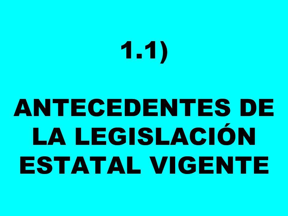 1.1) ANTECEDENTES DE LA LEGISLACIÓN ESTATAL VIGENTE