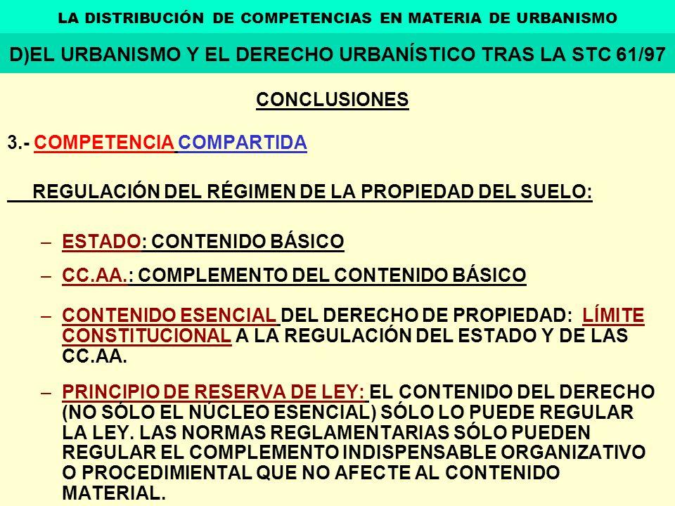 D)EL URBANISMO Y EL DERECHO URBANÍSTICO TRAS LA STC 61/97