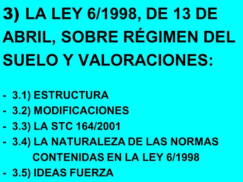 3) LA LEY 6/1998, DE 13 DE ABRIL, SOBRE RÉGIMEN DEL SUELO Y VALORACIONES: - 3.1) ESTRUCTURA - 3.2) MODIFICACIONES - 3.3) LA STC 164/2001 - 3.4) LA NATURALEZA DE LAS NORMAS CONTENIDAS EN LA LEY 6/1998 - 3.5) IDEAS FUERZA