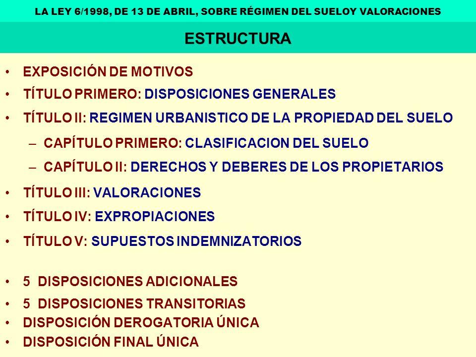 LA LEY 6/1998, DE 13 DE ABRIL, SOBRE RÉGIMEN DEL SUELOY VALORACIONES
