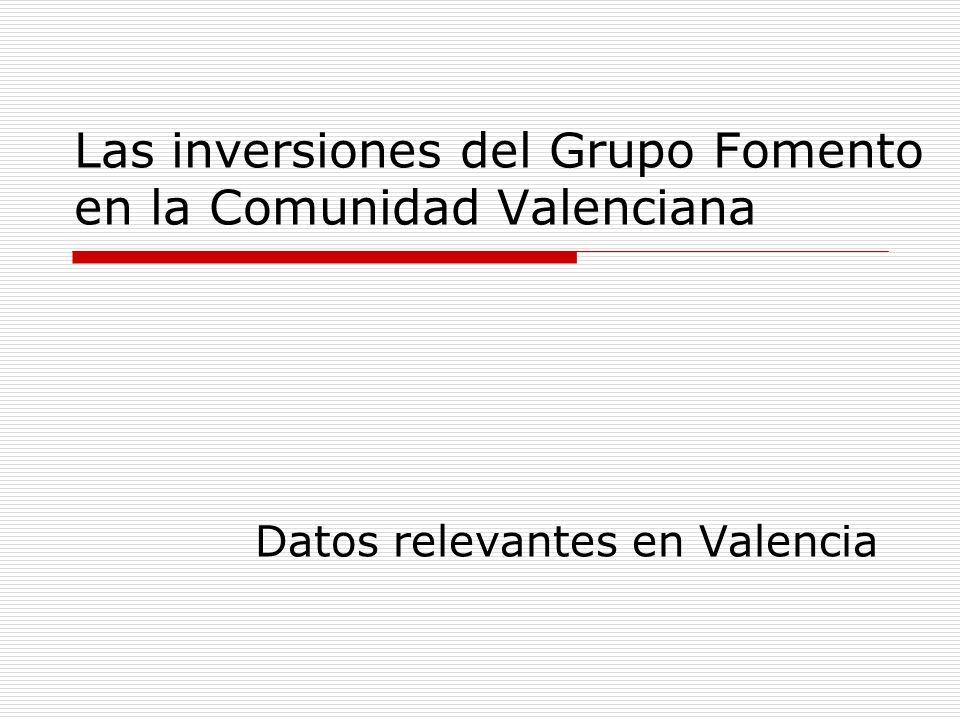 Las inversiones del Grupo Fomento en la Comunidad Valenciana