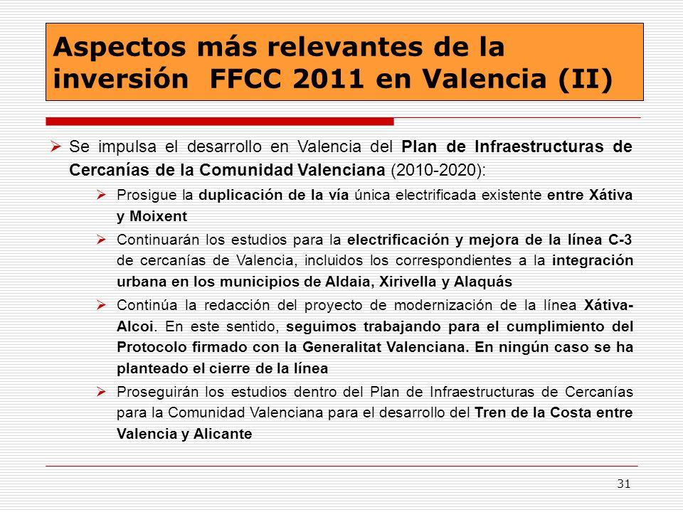 Aspectos más relevantes de la inversión FFCC 2011 en Valencia (II)