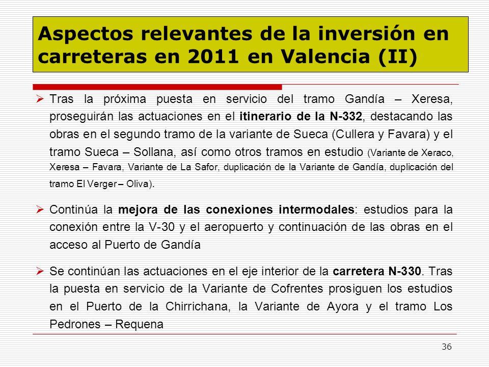 Aspectos relevantes de la inversión en carreteras en 2011 en Valencia (II)