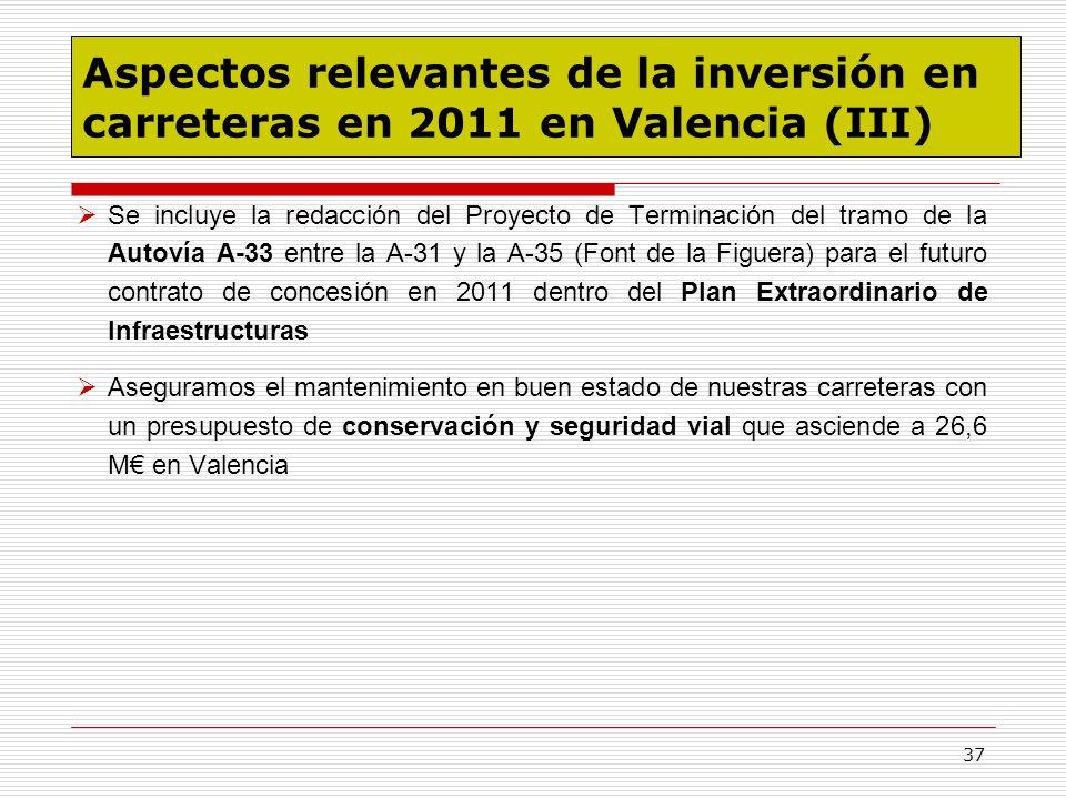 Aspectos relevantes de la inversión en carreteras en 2011 en Valencia (III)