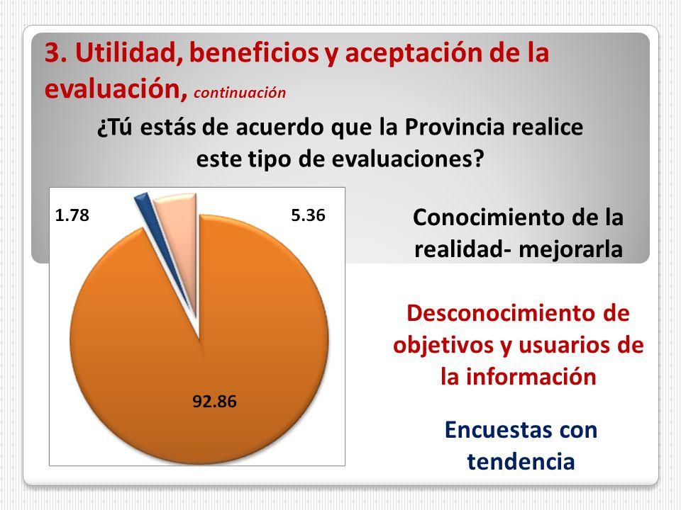 3. Utilidad, beneficios y aceptación de la evaluación, continuación