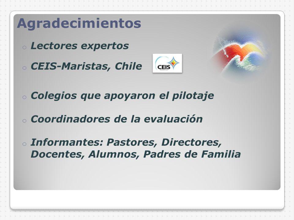 Agradecimientos Lectores expertos CEIS-Maristas, Chile