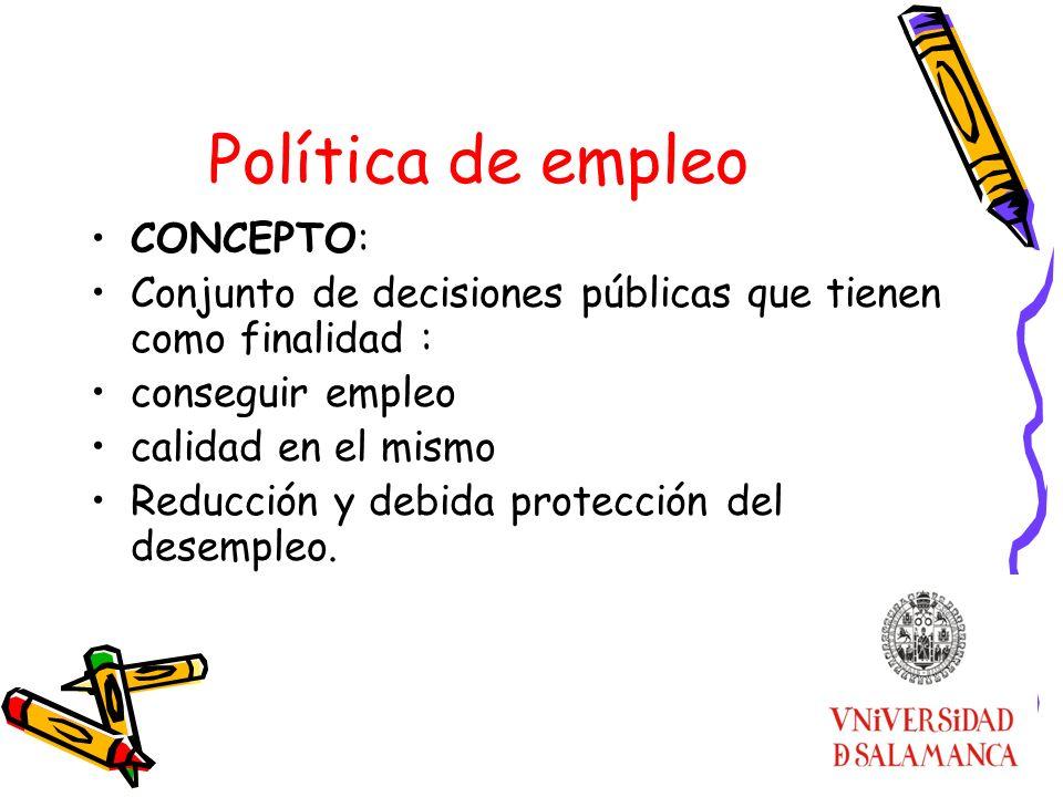 Política de empleo CONCEPTO: