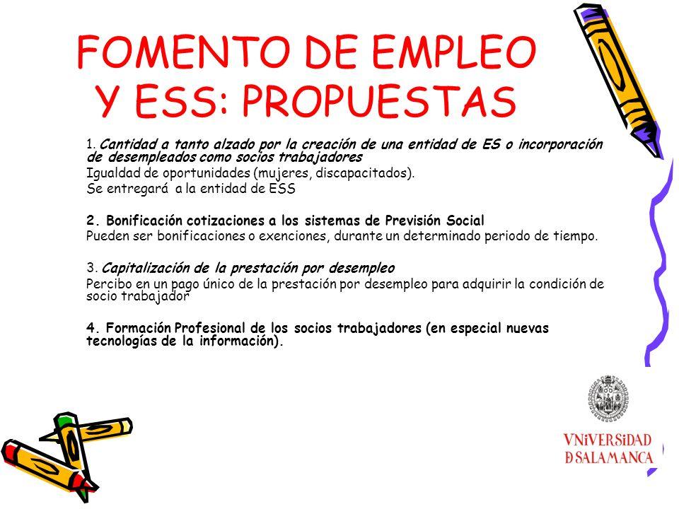 FOMENTO DE EMPLEO Y ESS: PROPUESTAS