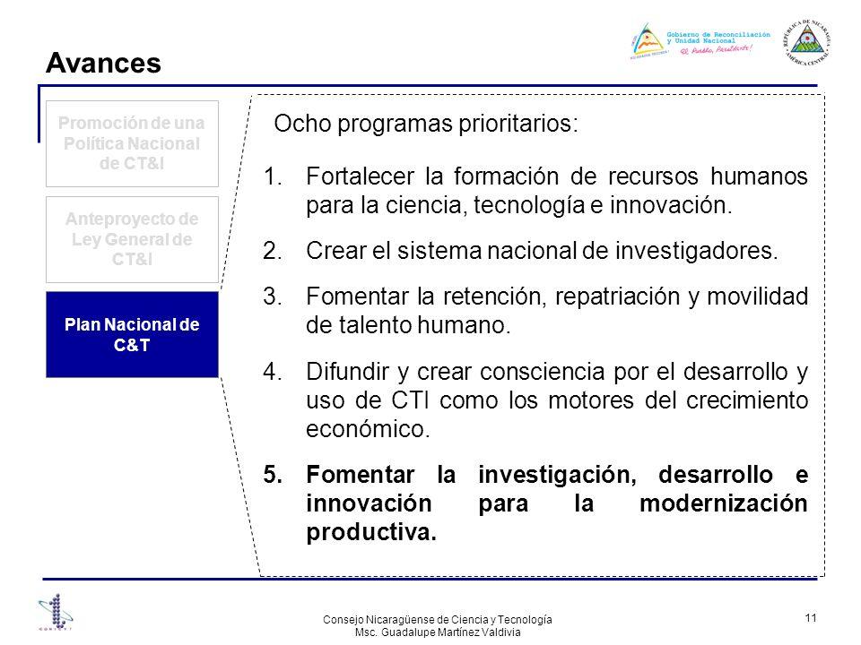 Avances Ocho programas prioritarios: