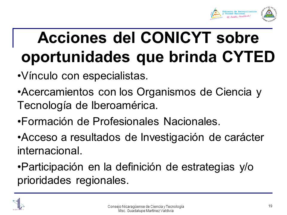 Acciones del CONICYT sobre oportunidades que brinda CYTED