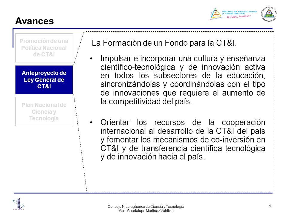 Avances La Formación de un Fondo para la CT&I.