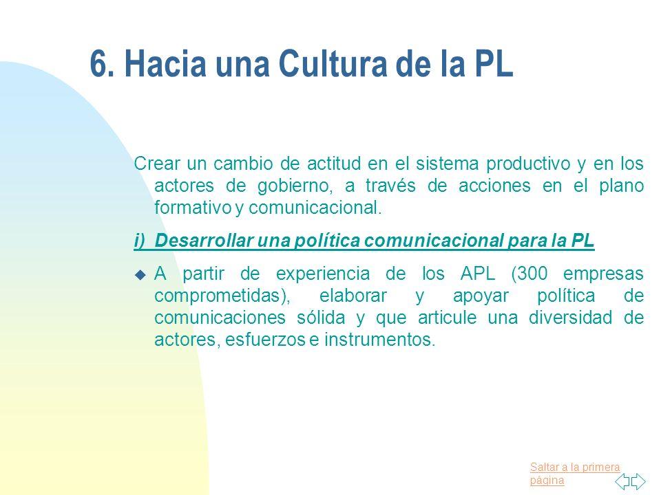 6. Hacia una Cultura de la PL