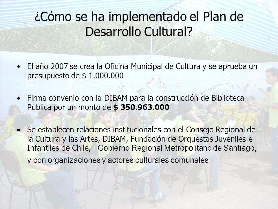 ¿Cómo se ha implementado el Plan de Desarrollo Cultural