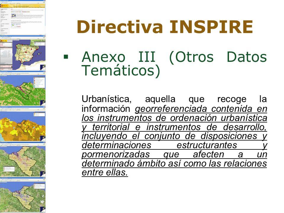 Directiva INSPIRE Anexo III (Otros Datos Temáticos)