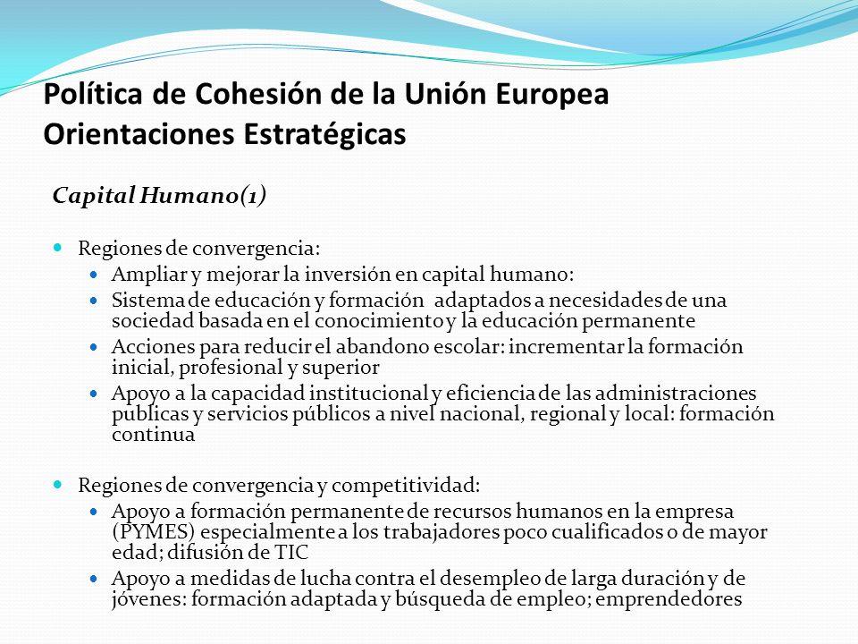 Política de Cohesión de la Unión Europea Orientaciones Estratégicas