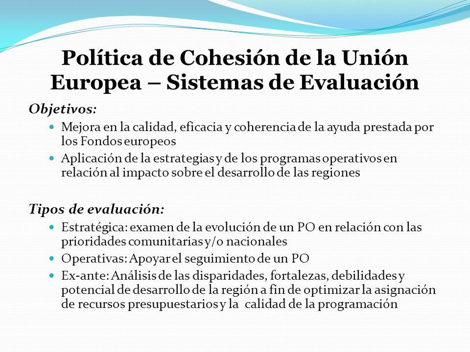 Política de Cohesión de la Unión Europea – Sistemas de Evaluación