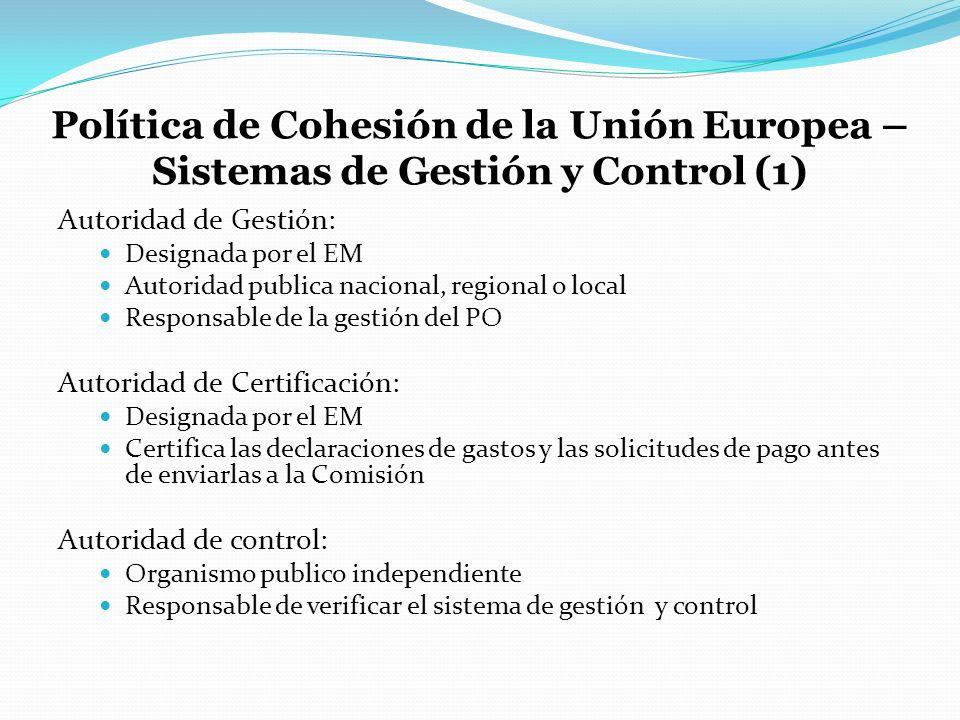 Política de Cohesión de la Unión Europea – Sistemas de Gestión y Control (1)
