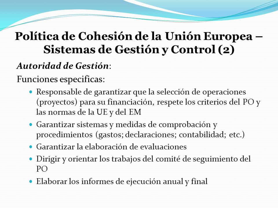 Política de Cohesión de la Unión Europea – Sistemas de Gestión y Control (2)