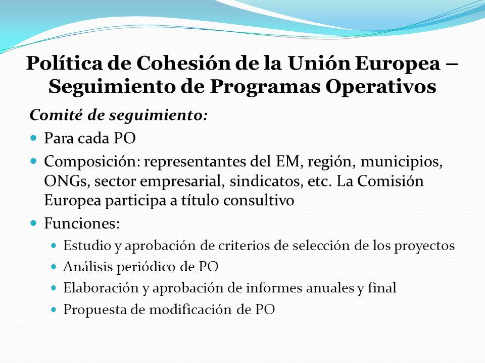 Política de Cohesión de la Unión Europea – Seguimiento de Programas Operativos
