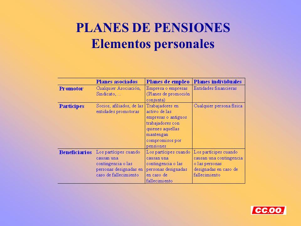 PLANES DE PENSIONES Elementos personales
