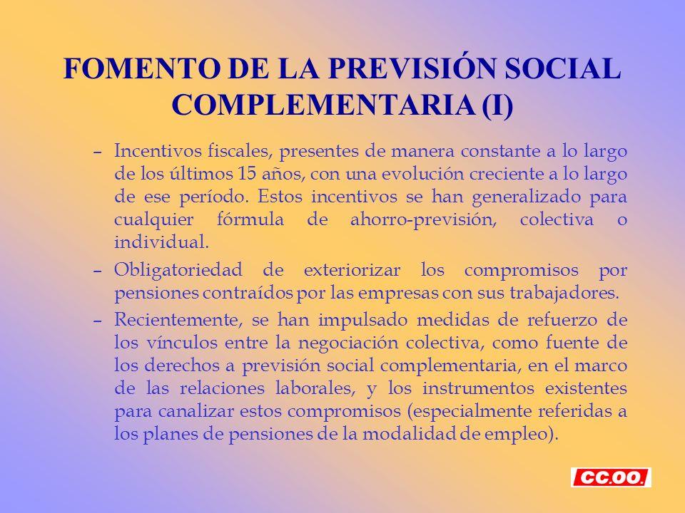 FOMENTO DE LA PREVISIÓN SOCIAL COMPLEMENTARIA (I)