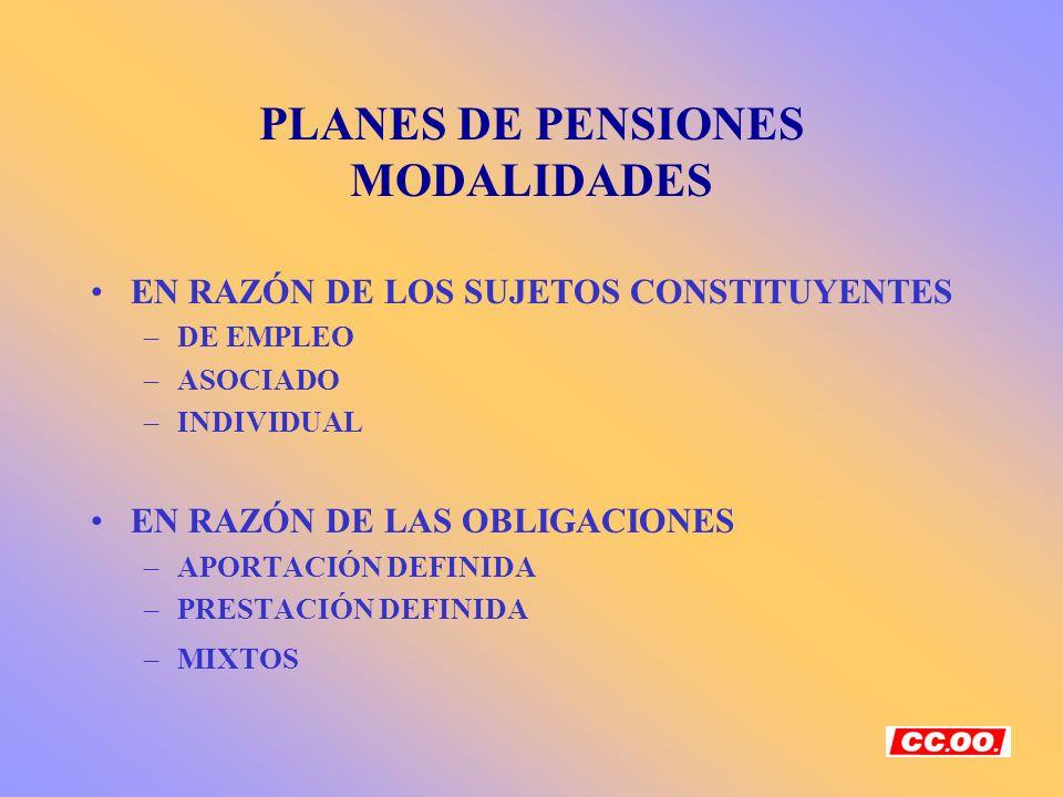 PLANES DE PENSIONES MODALIDADES
