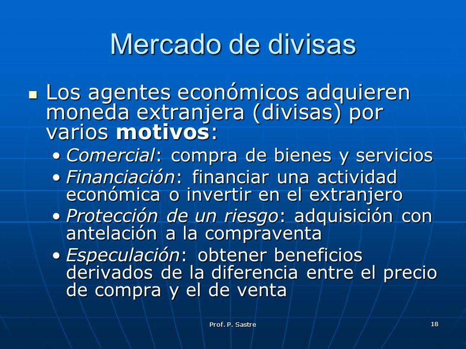 Mercado de divisas Los agentes económicos adquieren moneda extranjera (divisas) por varios motivos: