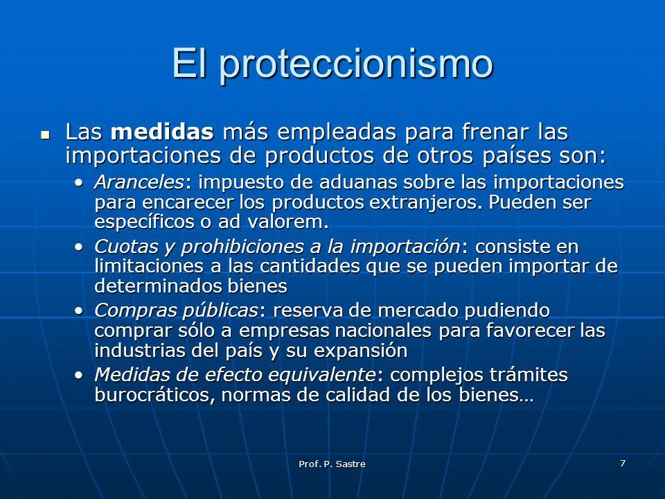 El proteccionismo Las medidas más empleadas para frenar las importaciones de productos de otros países son: