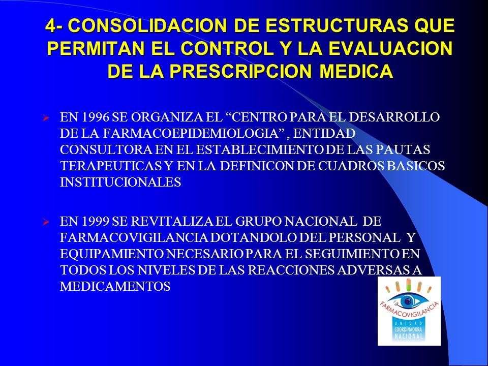 4- CONSOLIDACION DE ESTRUCTURAS QUE PERMITAN EL CONTROL Y LA EVALUACION DE LA PRESCRIPCION MEDICA