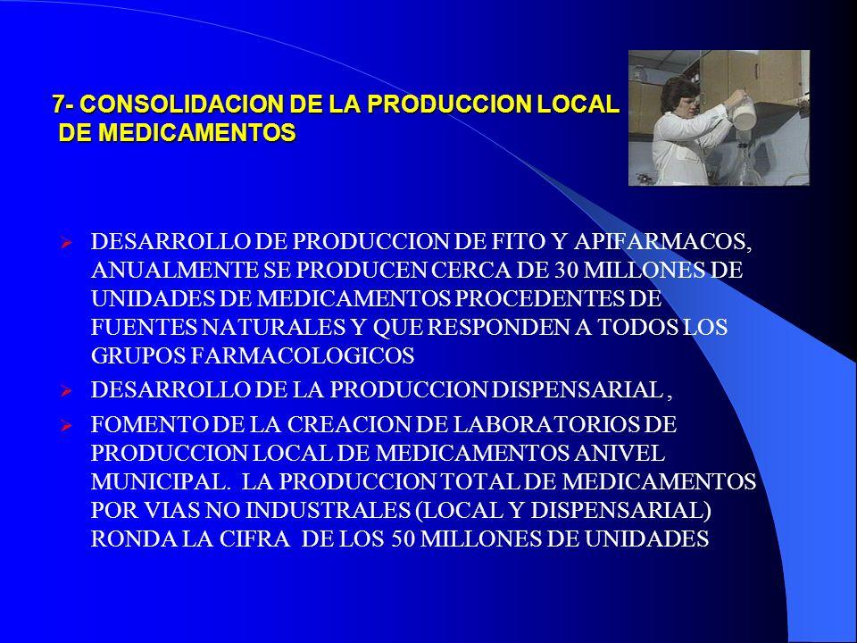 7- CONSOLIDACION DE LA PRODUCCION LOCAL DE MEDICAMENTOS