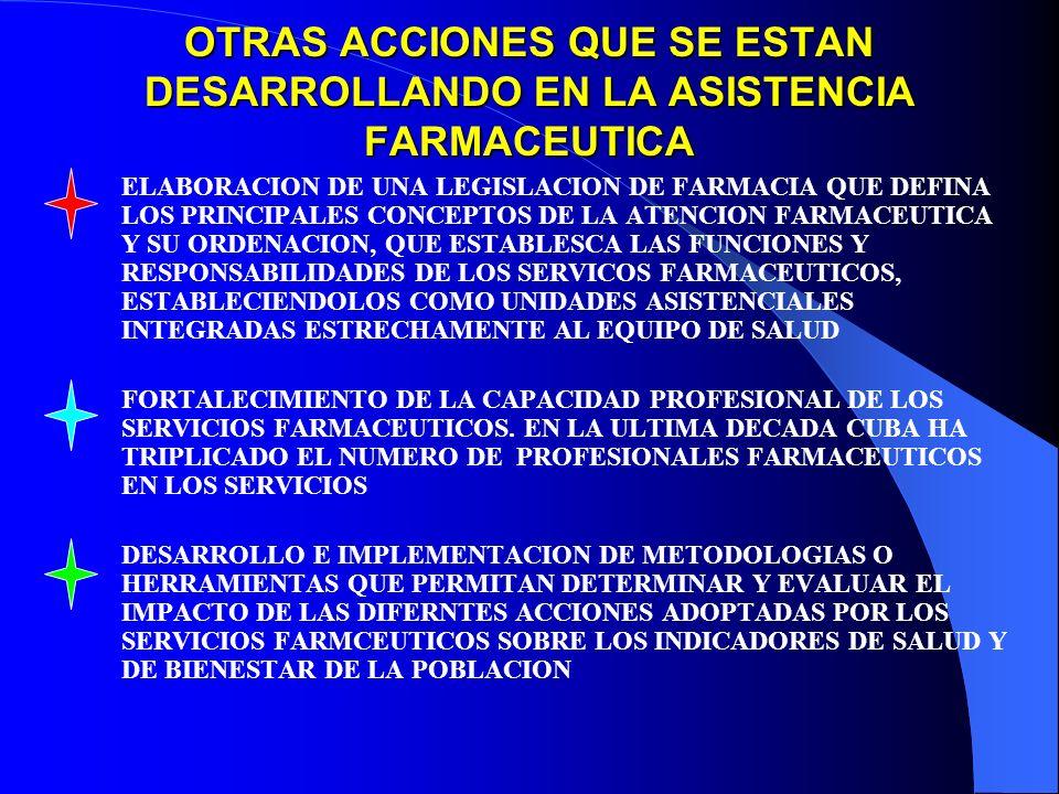 OTRAS ACCIONES QUE SE ESTAN DESARROLLANDO EN LA ASISTENCIA FARMACEUTICA