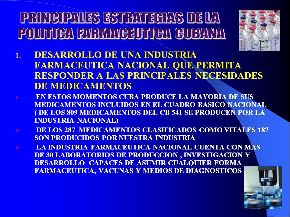 PRINCIPALES ESTRATEGIAS DE LA POLITICA FARMACEUTICA CUBANA