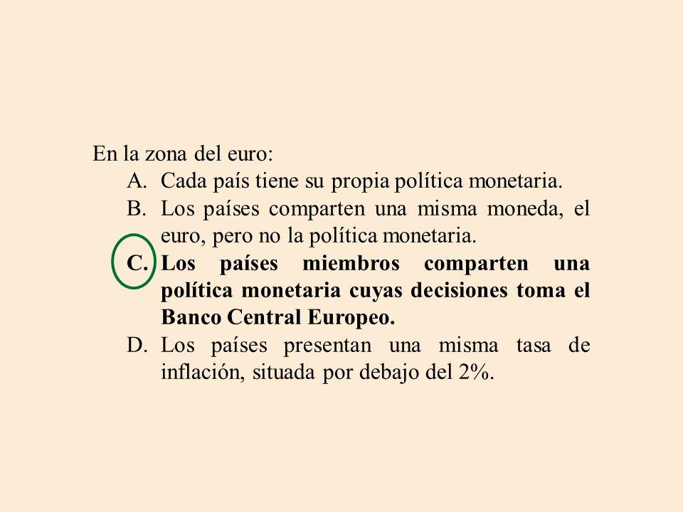 En la zona del euro: Cada país tiene su propia política monetaria. Los países comparten una misma moneda, el euro, pero no la política monetaria.