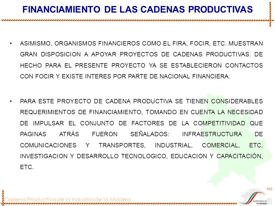 FINANCIAMIENTO DE LAS CADENAS PRODUCTIVAS