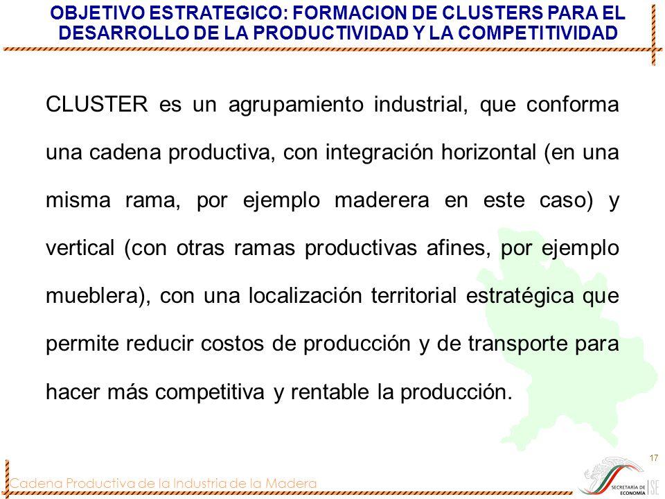 OBJETIVO ESTRATEGICO: FORMACION DE CLUSTERS PARA EL DESARROLLO DE LA PRODUCTIVIDAD Y LA COMPETITIVIDAD