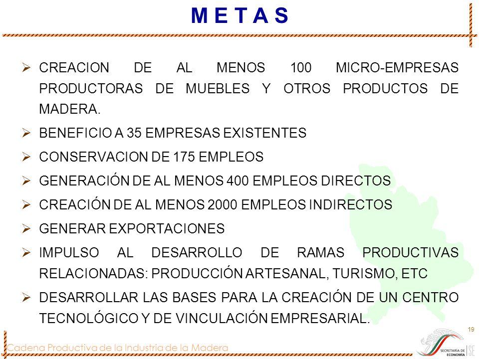 M E T A S CREACION DE AL MENOS 100 MICRO-EMPRESAS PRODUCTORAS DE MUEBLES Y OTROS PRODUCTOS DE MADERA.
