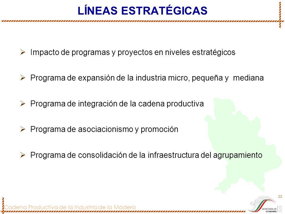 LÍNEAS ESTRATÉGICAS Impacto de programas y proyectos en niveles estratégicos. Programa de expansión de la industria micro, pequeña y mediana.