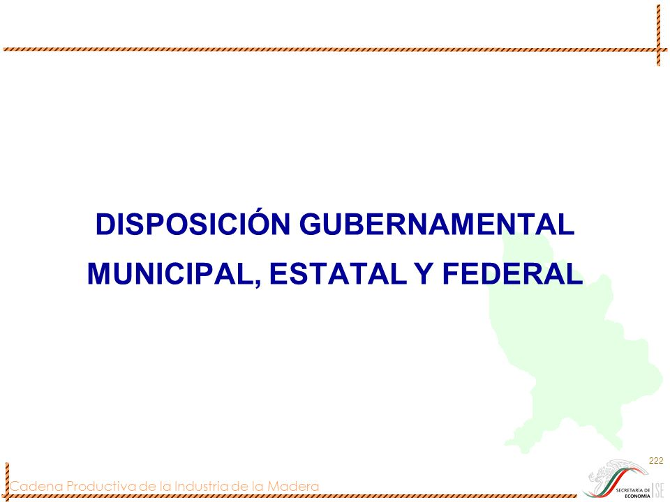DISPOSICIÓN GUBERNAMENTAL MUNICIPAL, ESTATAL Y FEDERAL