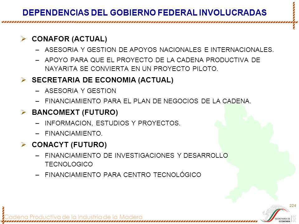 DEPENDENCIAS DEL GOBIERNO FEDERAL INVOLUCRADAS