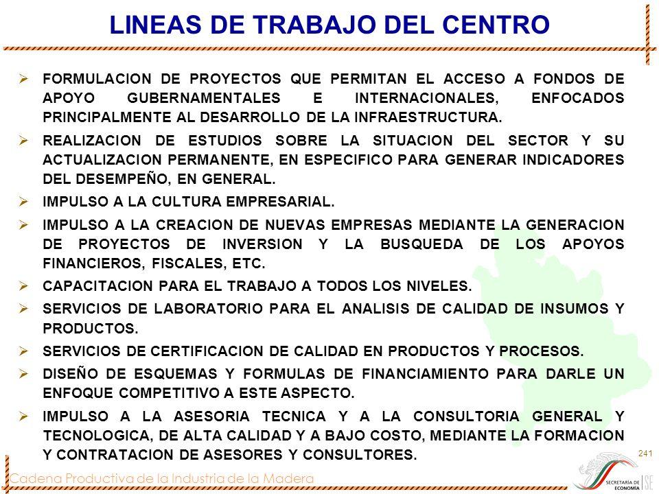 LINEAS DE TRABAJO DEL CENTRO