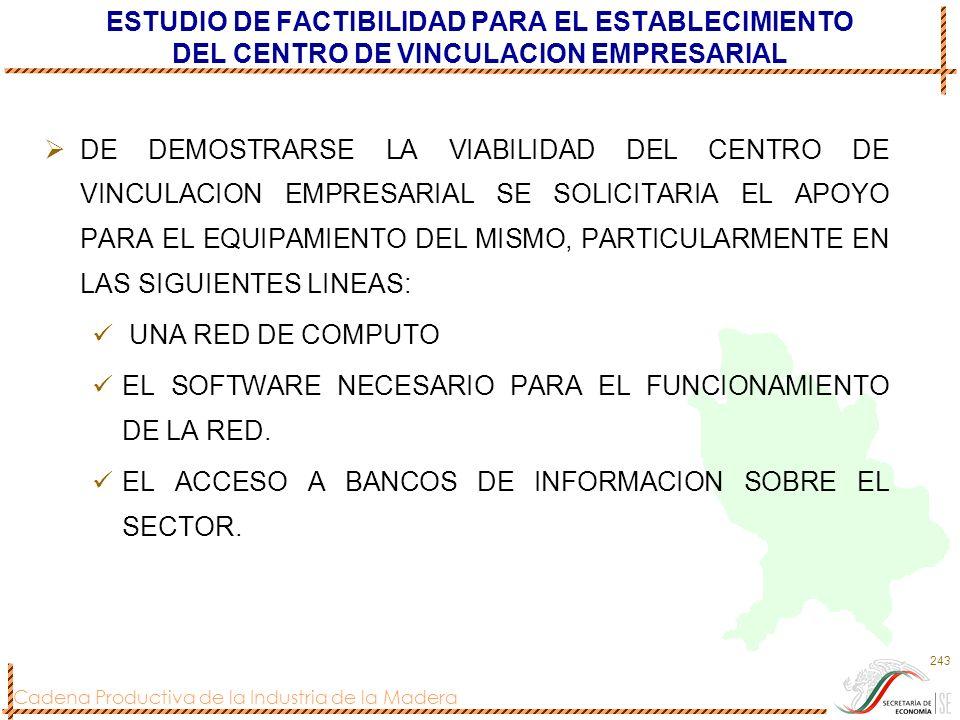 ESTUDIO DE FACTIBILIDAD PARA EL ESTABLECIMIENTO DEL CENTRO DE VINCULACION EMPRESARIAL