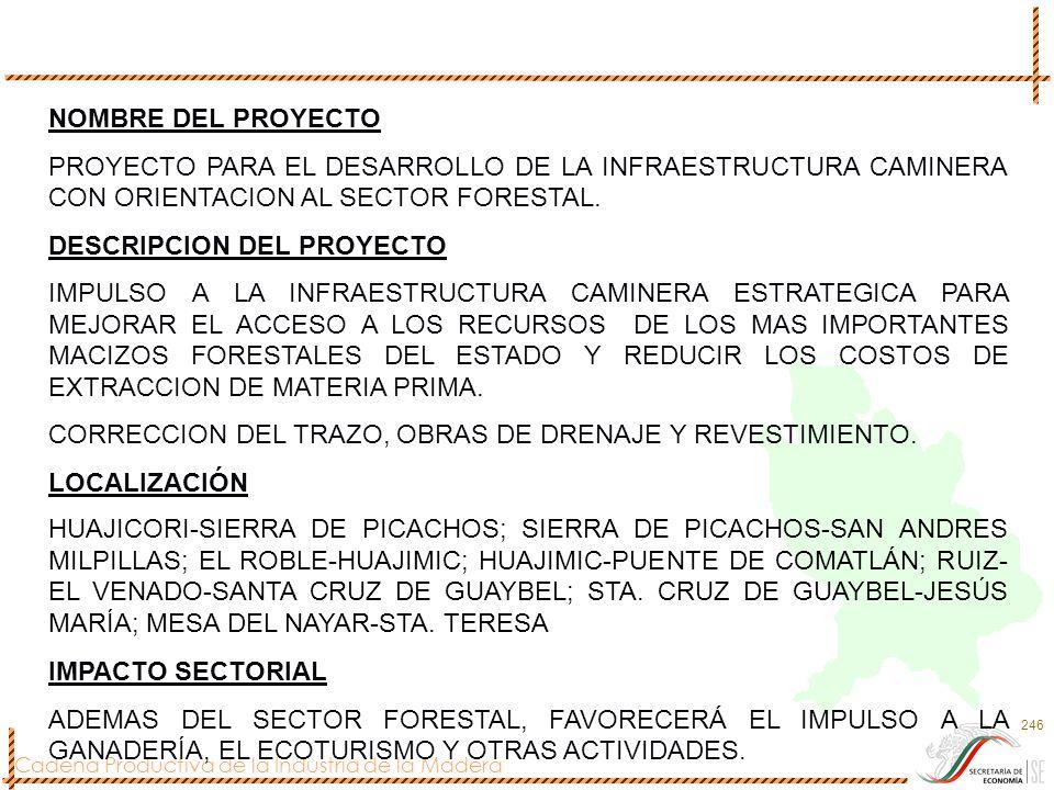 NOMBRE DEL PROYECTO PROYECTO PARA EL DESARROLLO DE LA INFRAESTRUCTURA CAMINERA CON ORIENTACION AL SECTOR FORESTAL.