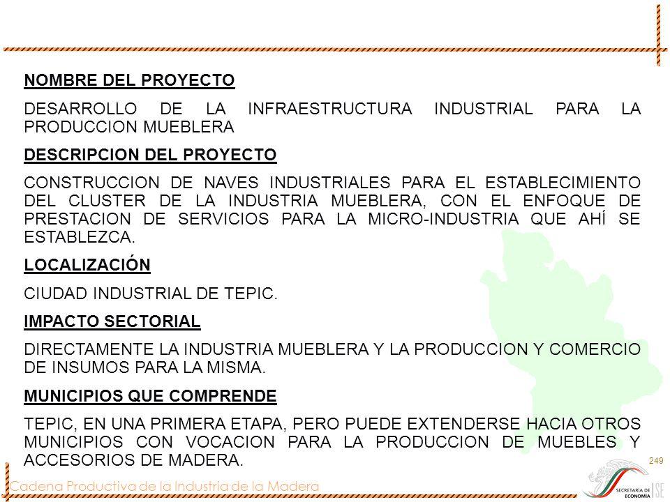 NOMBRE DEL PROYECTO DESARROLLO DE LA INFRAESTRUCTURA INDUSTRIAL PARA LA PRODUCCION MUEBLERA. DESCRIPCION DEL PROYECTO.