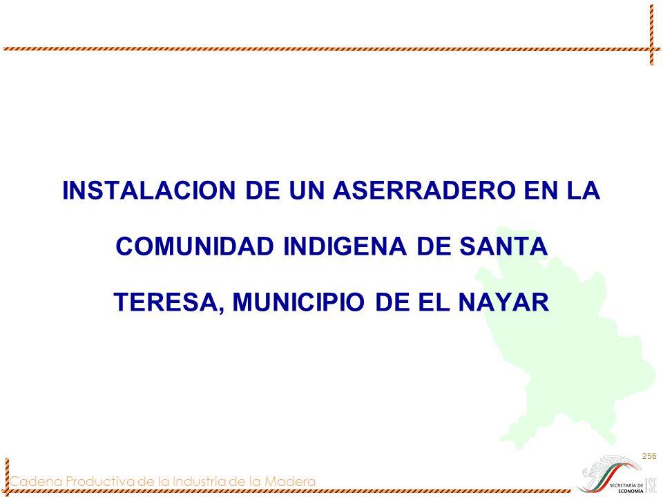 INSTALACION DE UN ASERRADERO EN LA COMUNIDAD INDIGENA DE SANTA TERESA, MUNICIPIO DE EL NAYAR