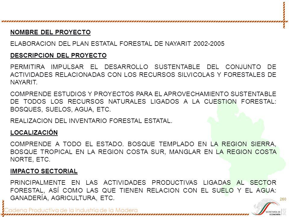 NOMBRE DEL PROYECTO ELABORACION DEL PLAN ESTATAL FORESTAL DE NAYARIT 2002-2005. DESCRIPCION DEL PROYECTO.